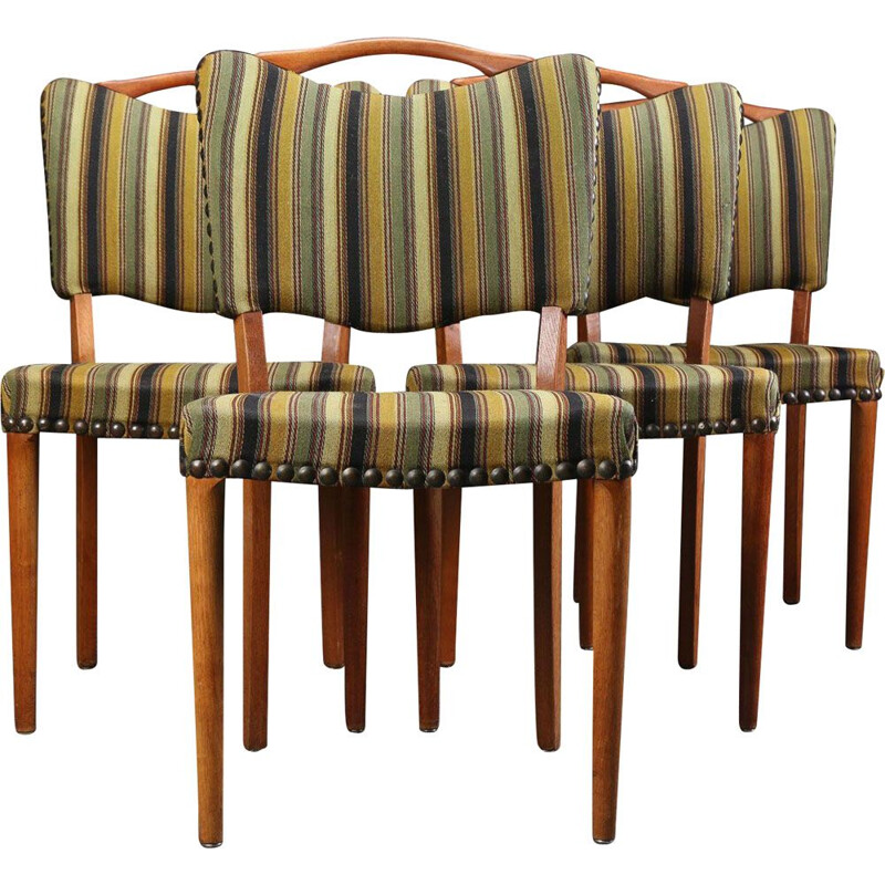 Set of 4 vintage chairs in oak and wool 1960