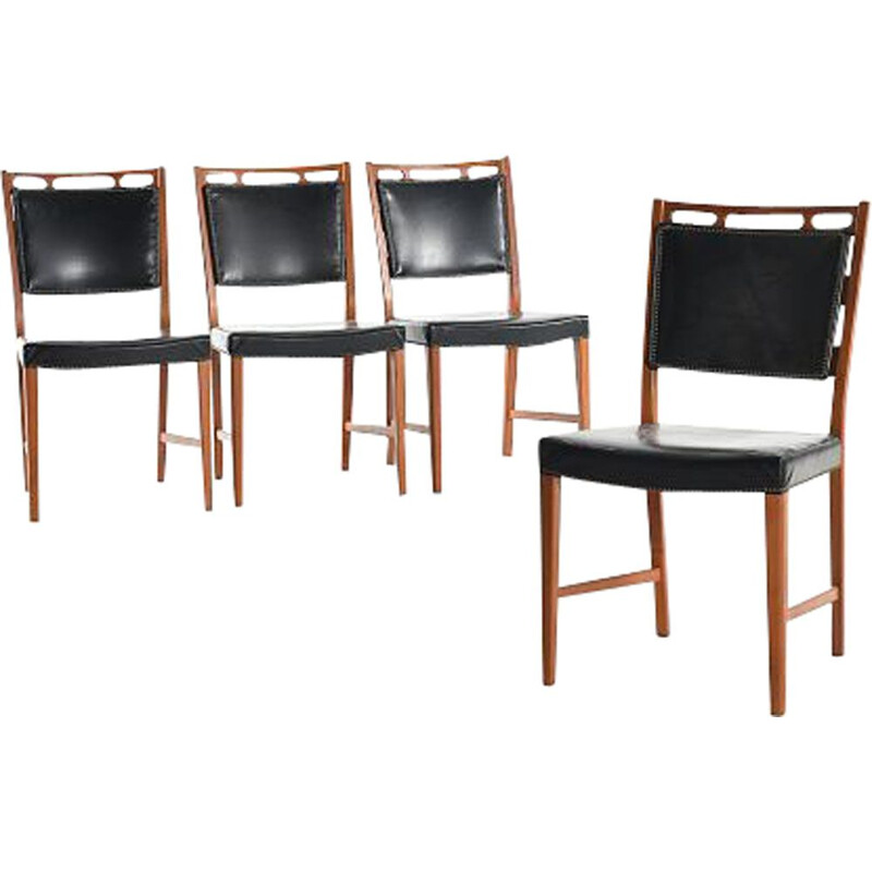 Set of 6 vintage Futura chairs by Rosen in teak and black leatherette