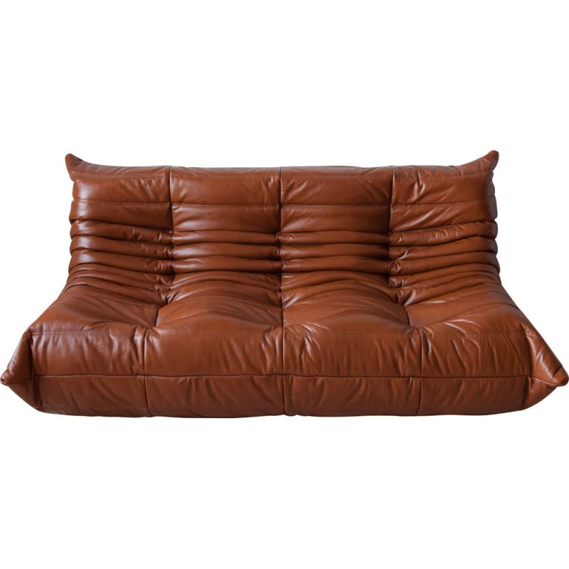 Vintage 3-seater Togo sofa for Ligne Roset in brown leather 1970s