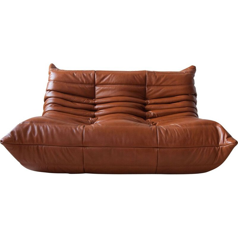 Vintage 2-seater Togo sofa for Ligne Roset in whiskey brown leather, 1970s