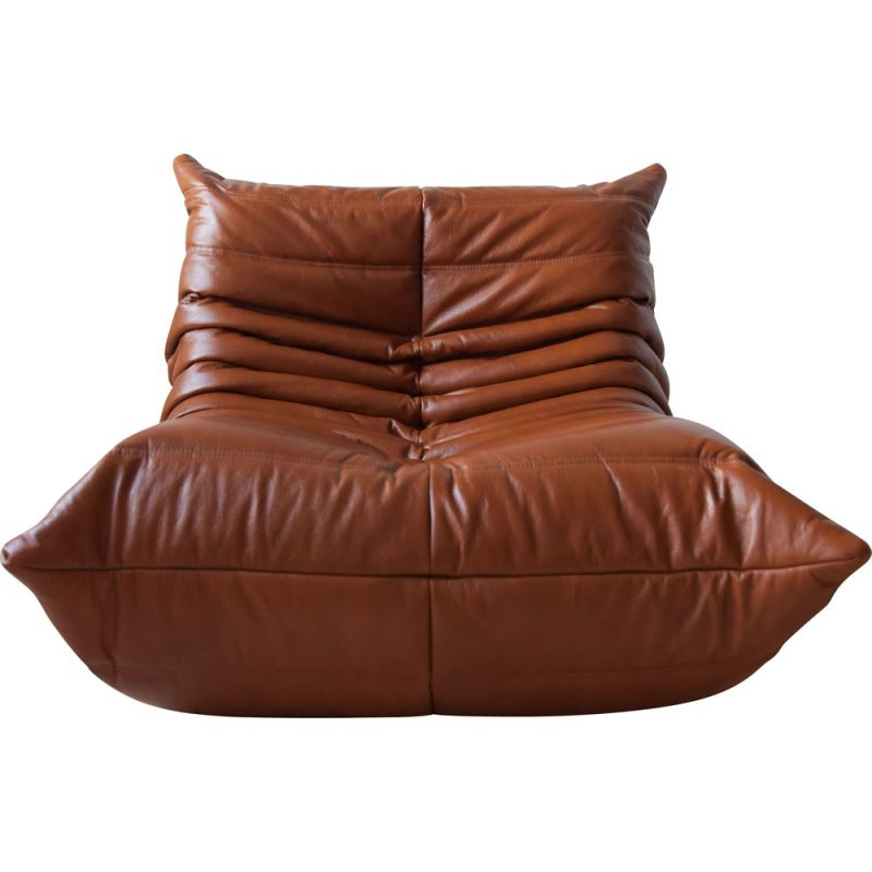 Vintage Togo armchair for Ligne Roset in whiskey brown leather 1970s