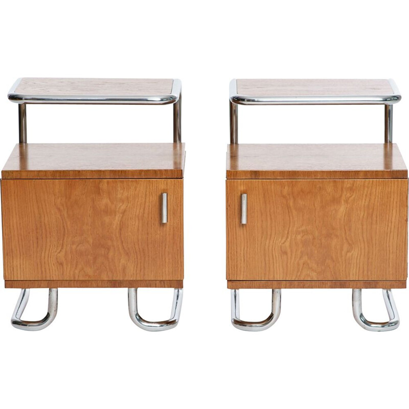 Pair of vintage bedside tables Art Deco in chrome & tubular steel by Kovona 1930s