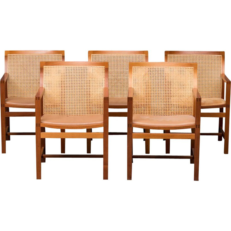 Set of 5 vintage armchairs in mahogany by Rud Thygesen and Johnny Sorensen for Botium