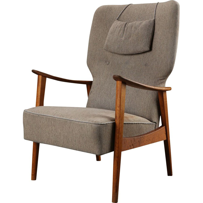 Vintage armchair for Fritz Hansen in oak and wool 1950