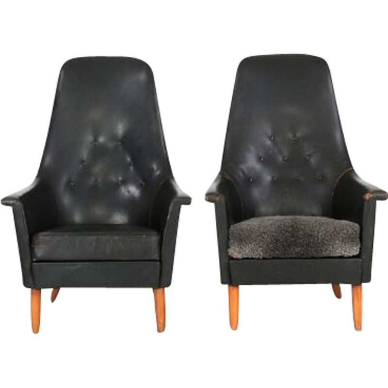 Scandinavian vintage armchair in black leather and beech 1960