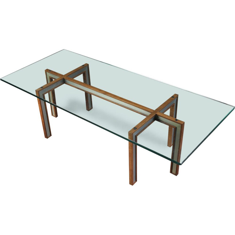 Scandinavian vintage coffee table for CFC Silkeborg in rosewood and glass 1960