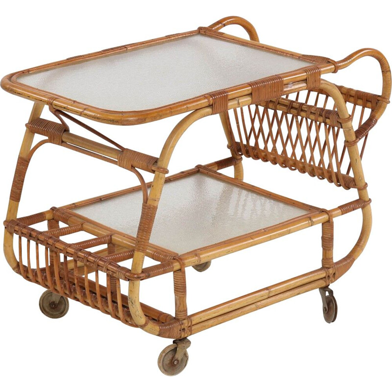 Scandinavian vintage serving trolley in glass and bamboo 1930