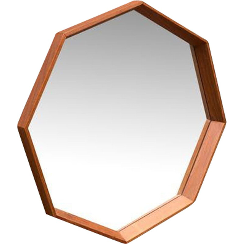 Scandinavian octagonal vintage mirror in teak wood 1950
