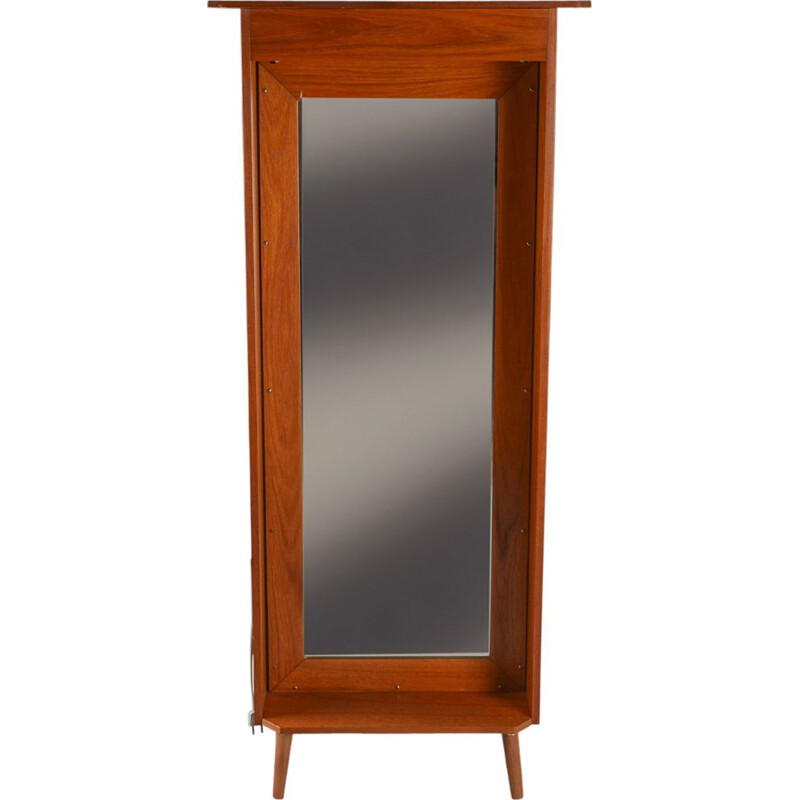Scandinavian vintage mirror with teak wood feet 1970