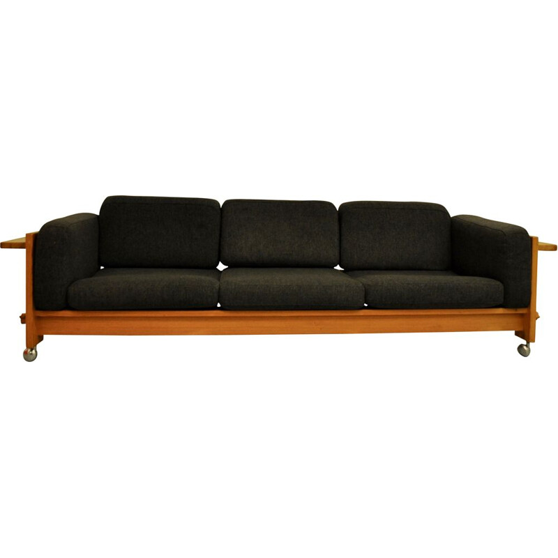 Vintage sofa for Swedese in grey fabric and pine wood 1970