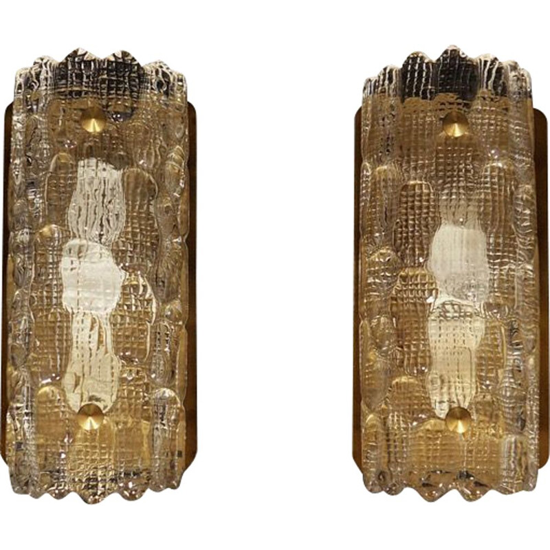 Pair of vintage danish sconces in glass and metal 1970s