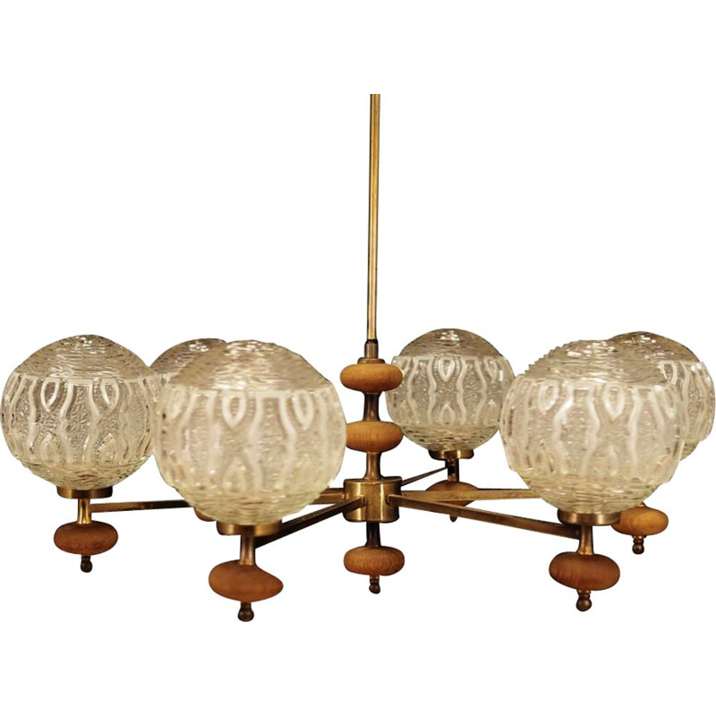 Vintage scandinavian chandelier in glass and metal 1970s