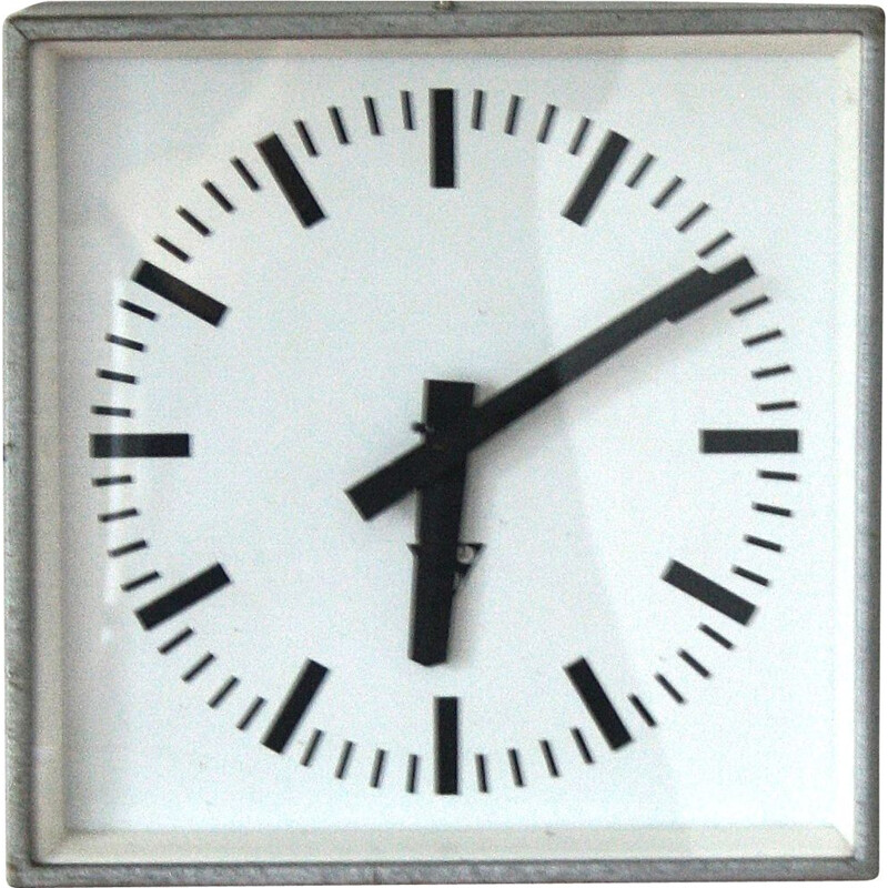 Vintage industrial czech wall clock for Pragotron in glass and metal 1970s