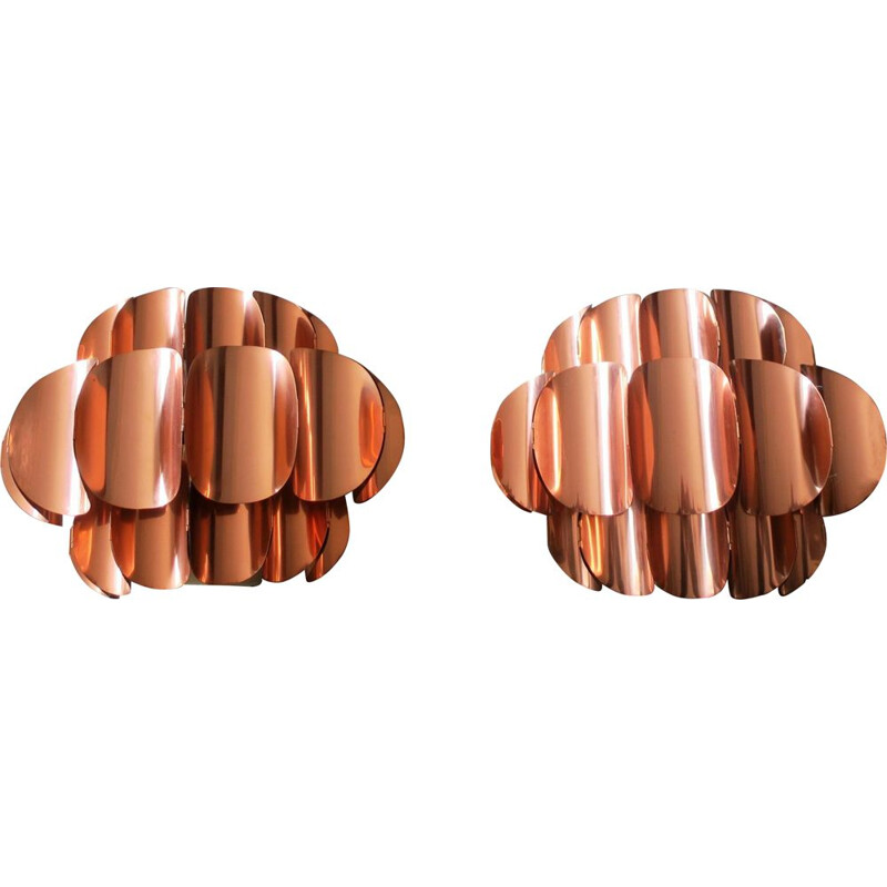 Pair of vintage Swiss Copper wall lights by Thorsten Orrling for Temde