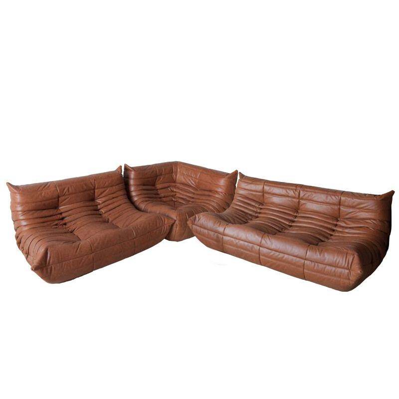 Set of 3 vintage Togo sofas for Ligne Roset in brown leather 1970s