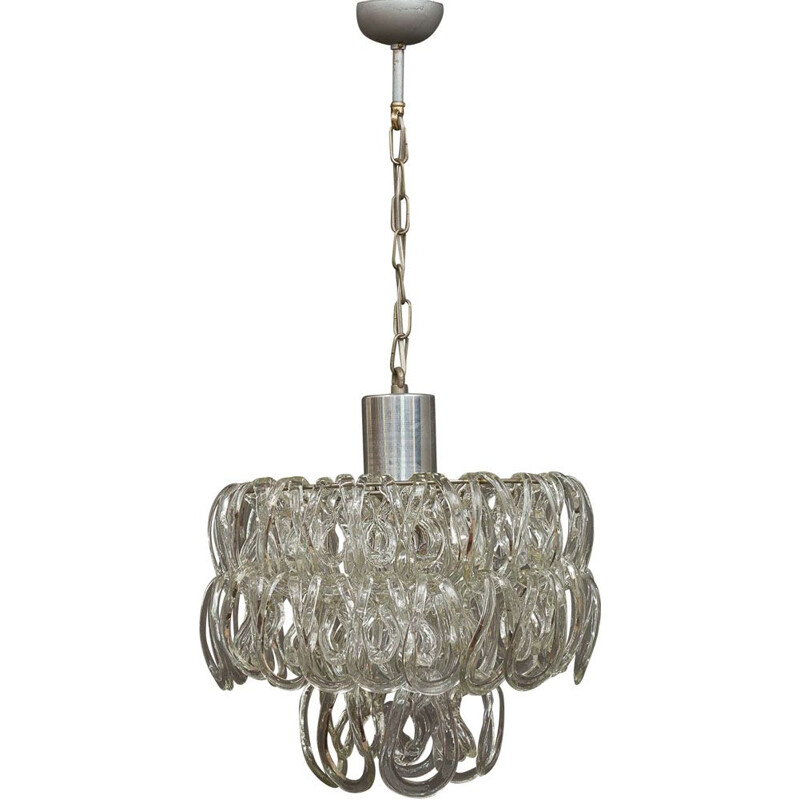 Vintage chandelier in Murano glass by Angelo Mangiarotti  for Vistosi 1960