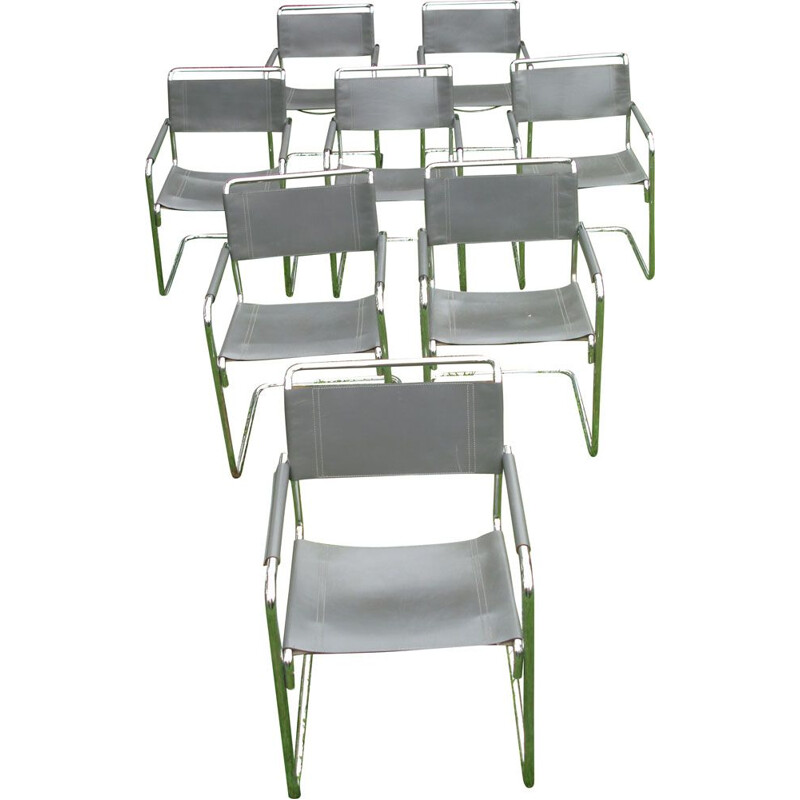 Set of 8 vintage armchairs B34 by Marcel Breuer in grey and chrome leather