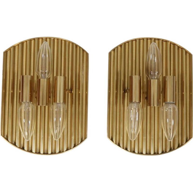 Pair of vintage wall lamps in brass 1960s