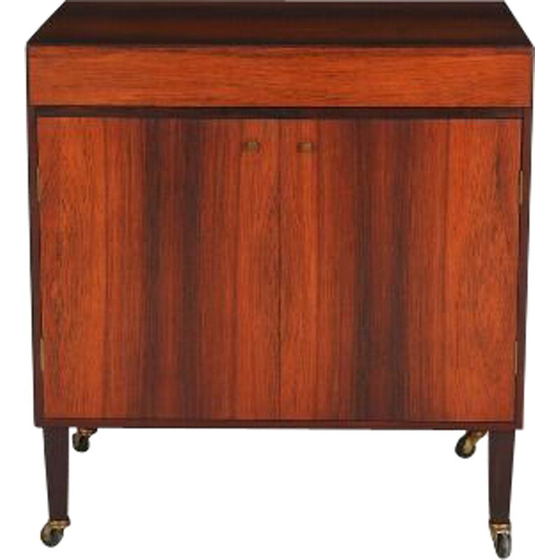 Vintage bar on wheels in rosewood and brass 1960