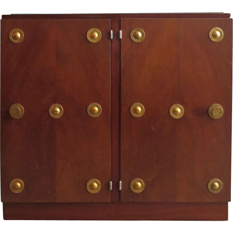 Vintage walnut double door cabinet with brass elements and glass top 1940s
