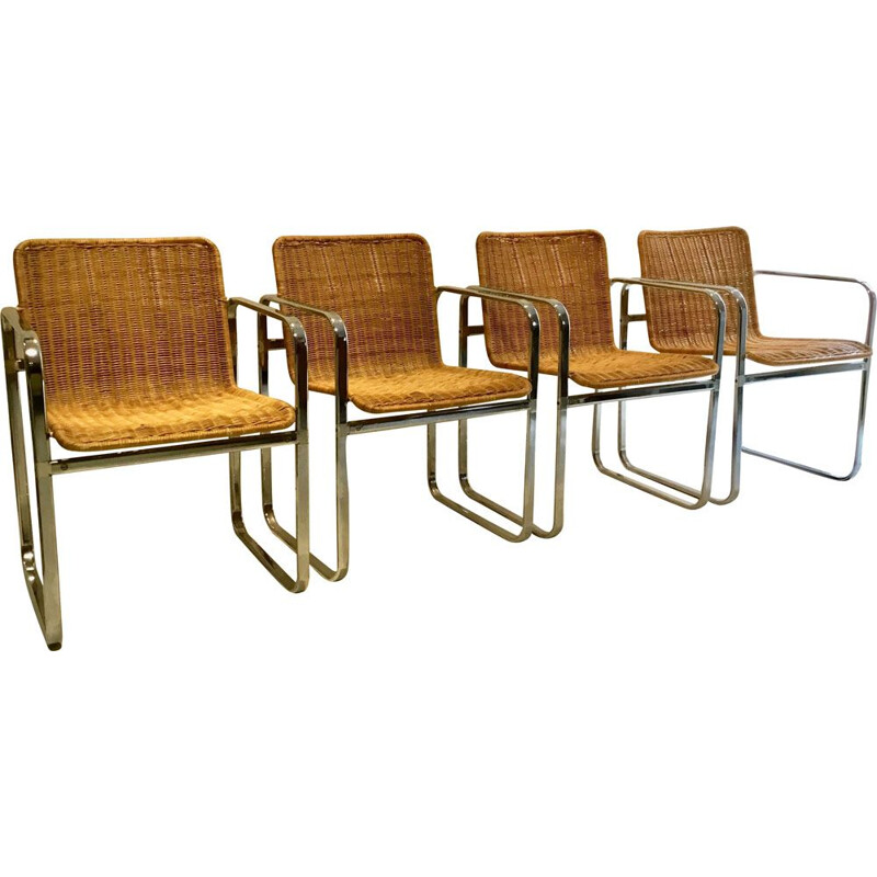 Set of 4 vintage chairs for Sliedregt in steel and rattan 1970s