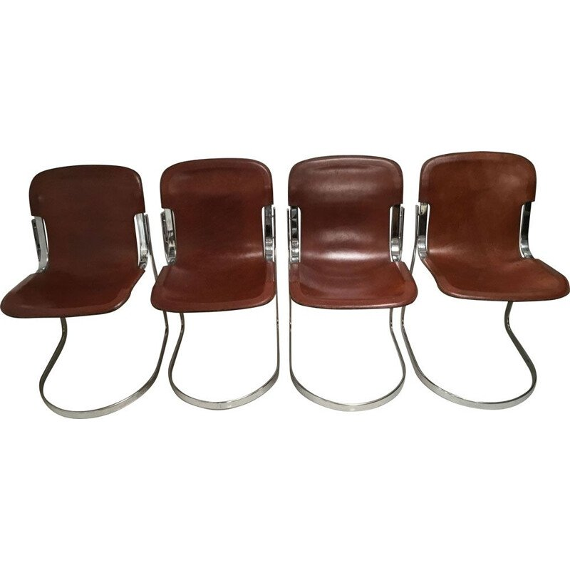 Set of 4 vintage chairs for Cidue in brown leather and steel 1970s