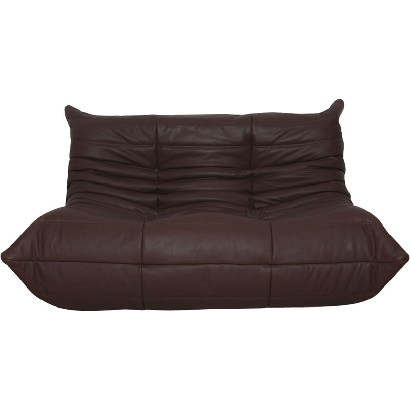 Vintage 2-seater Togo sofa for Ligne Roset in brown leather 1970s