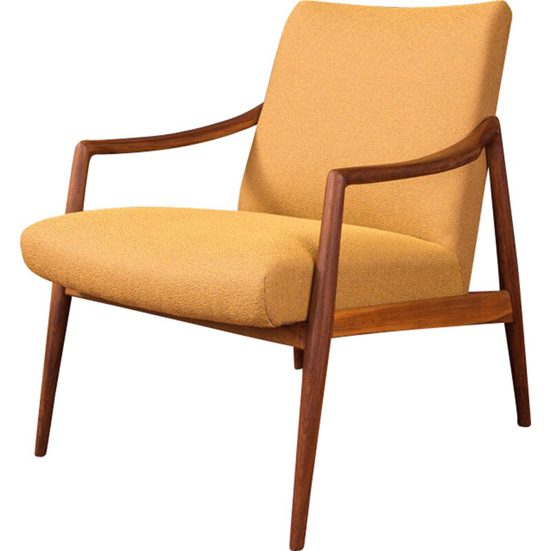 Vintage yellow armchair for Wilkhahn in walnut 1950s