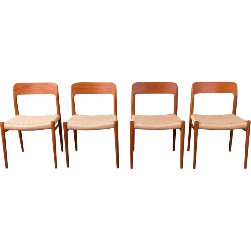 Set of 4 vintage chairs for Niels O. Møller in teak 1950s