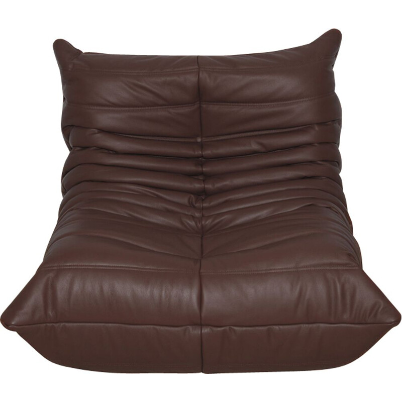 Vintage Togo armchair for Ligne Roset in brown leather 1970s