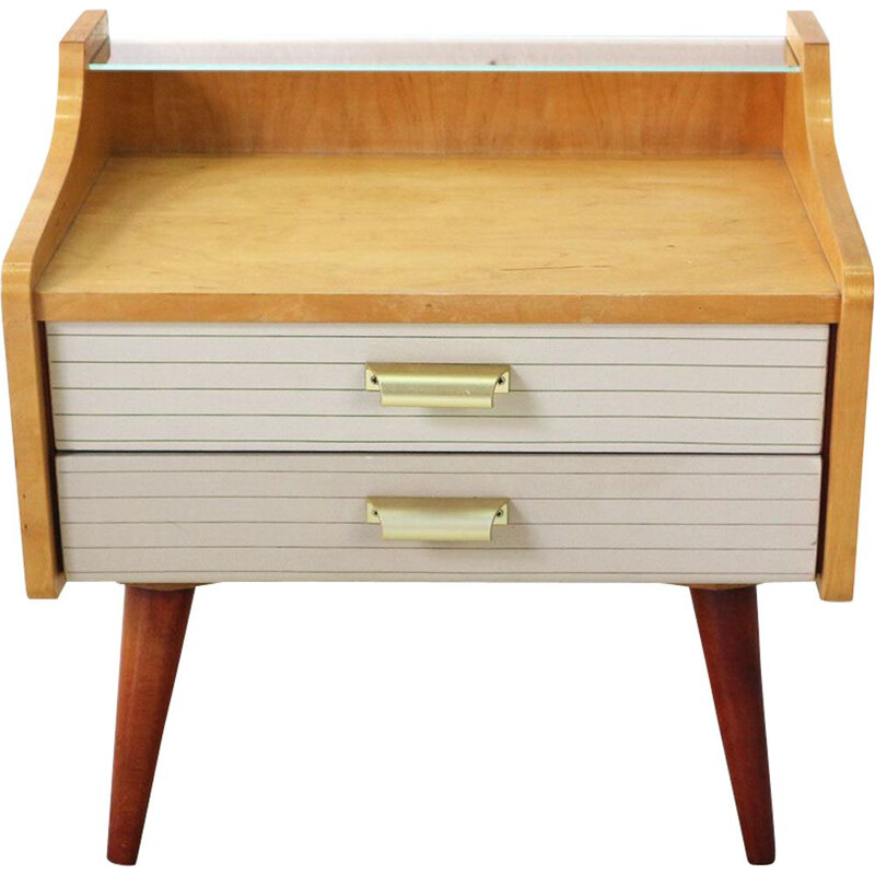 Vintage night stand with drawers in marple and leatherette 1950s