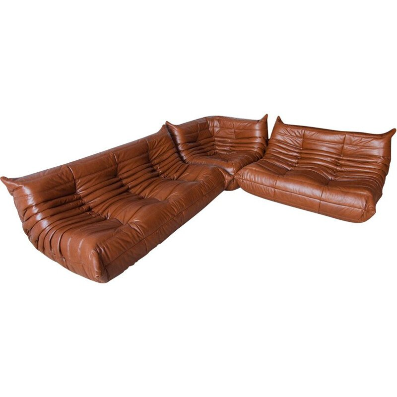 Vintage set of 3 sofas Togo for Ligne Roset in whiskey brown leather 1970s
