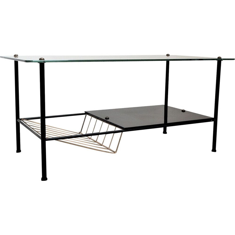 Vintage black steel and glass coffee table 1950s