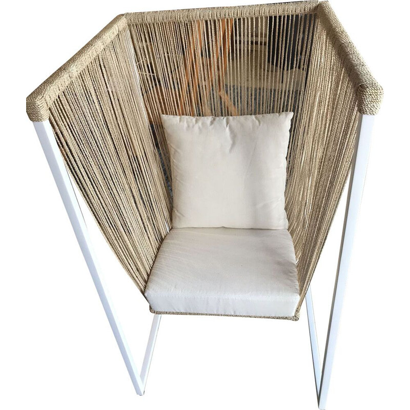 Vintage armchair by Filipi Sema in fiber and white metal