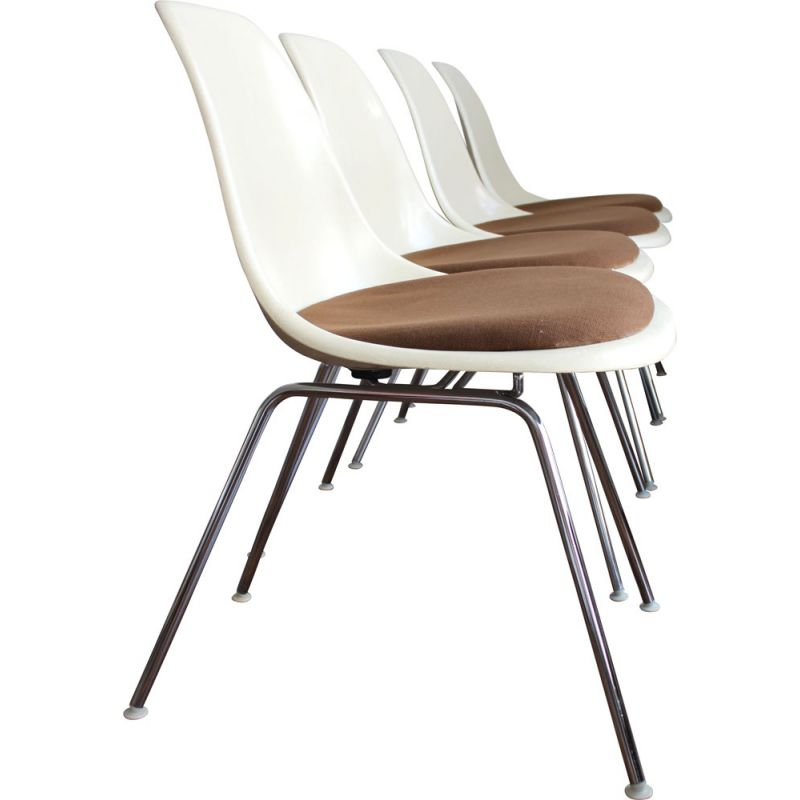 Set of 4 vintage DSX fibre glass chairs by Eames for Herman Miller