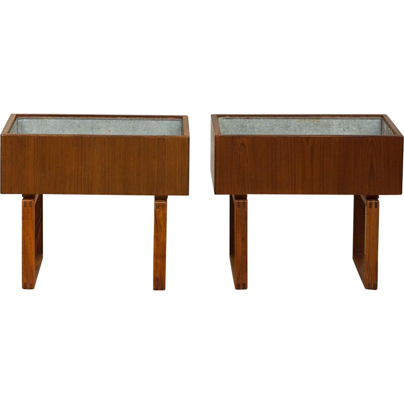 Pair of vintage indoor planters for Salin Mobler in rosewood 1960s