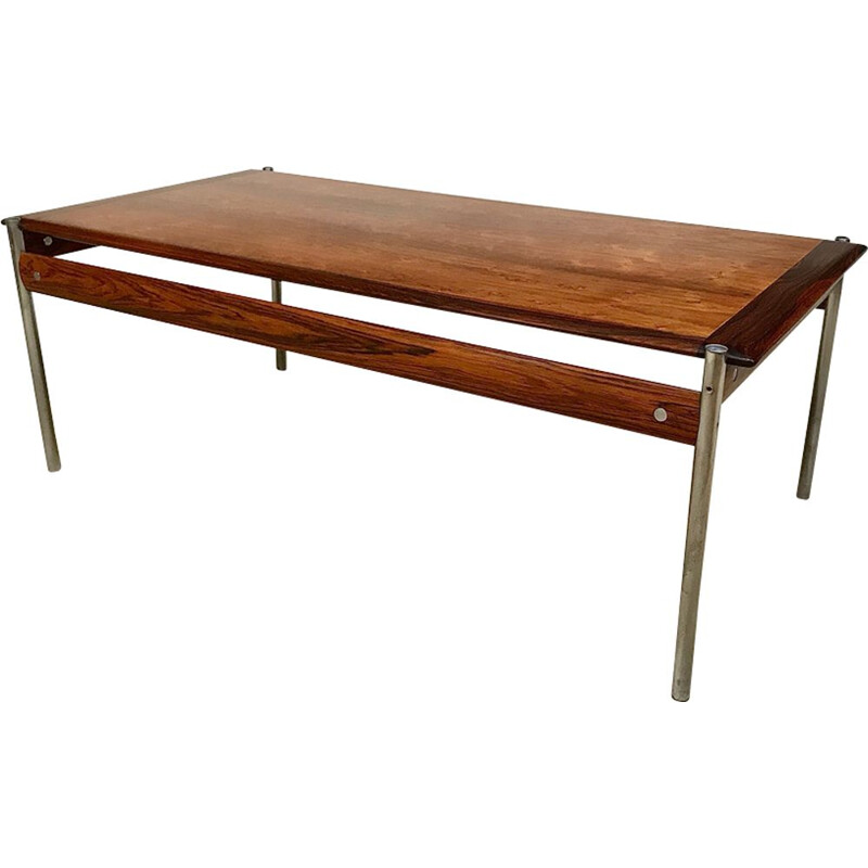Vintage coffee table for Dokka Møbler in chrome and rosewood 1960s