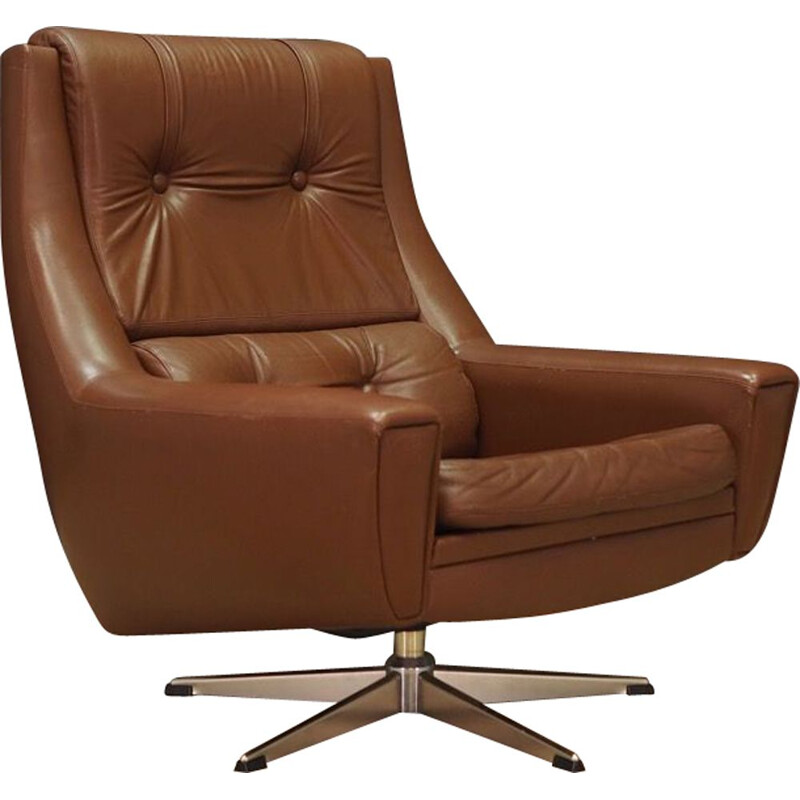 Vintage armchair in brown leather 1970s