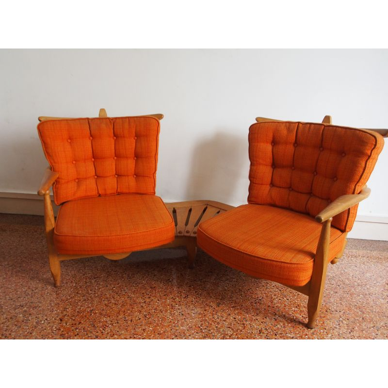 Pleasant Vintage Bench Seat By Guillerme And Chambron In Orange Fabric And Oak 1960 Pdpeps Interior Chair Design Pdpepsorg