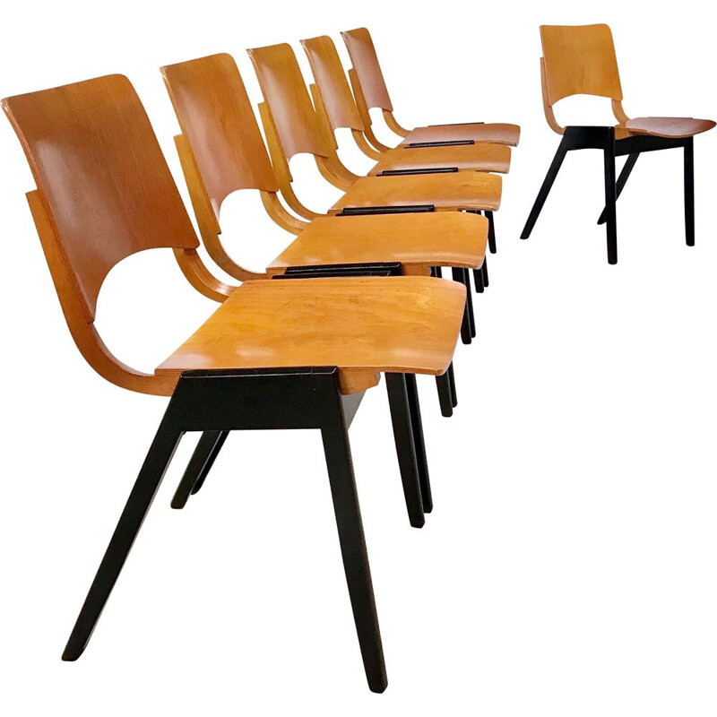 Set of 6 vintage stacking dining chairs model P7 by Roland Rainer for Emil & Alfred Pollak, 1950s