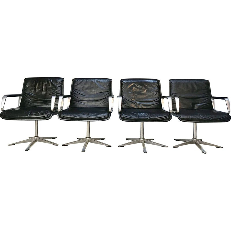 Set of 4 vintage armchairs Programm 2000 in leather by Delta Design for Wilkhahn, 1960s
