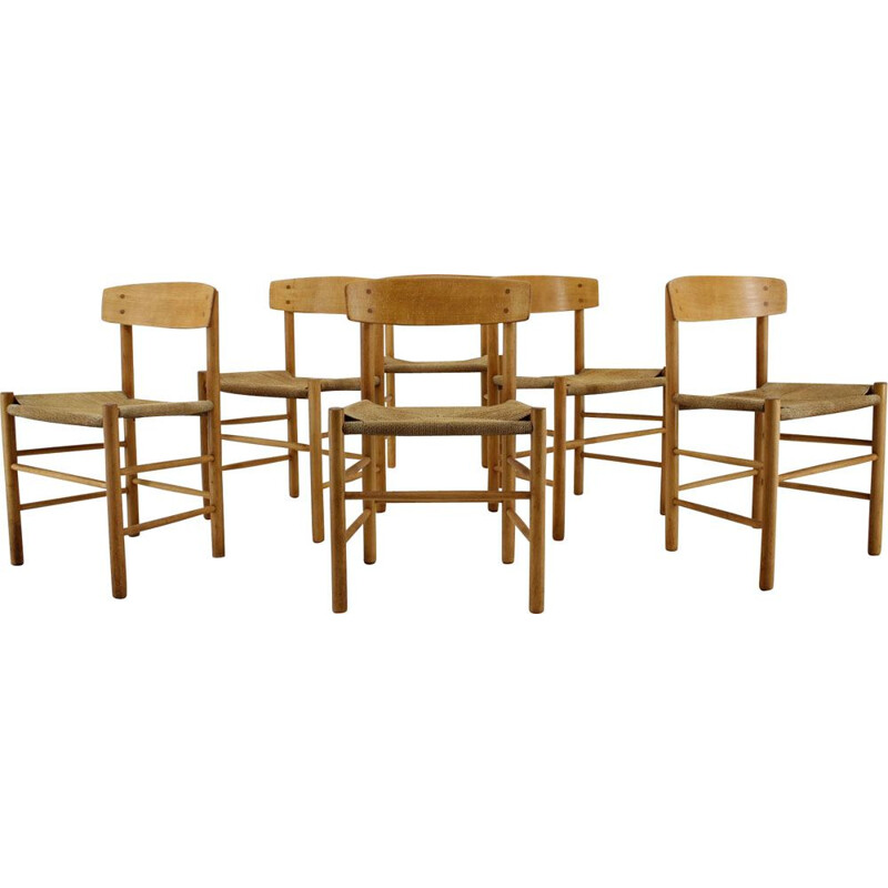 Set of 6 vintage dining chairs J 39 by Borge Mogensen 1960s