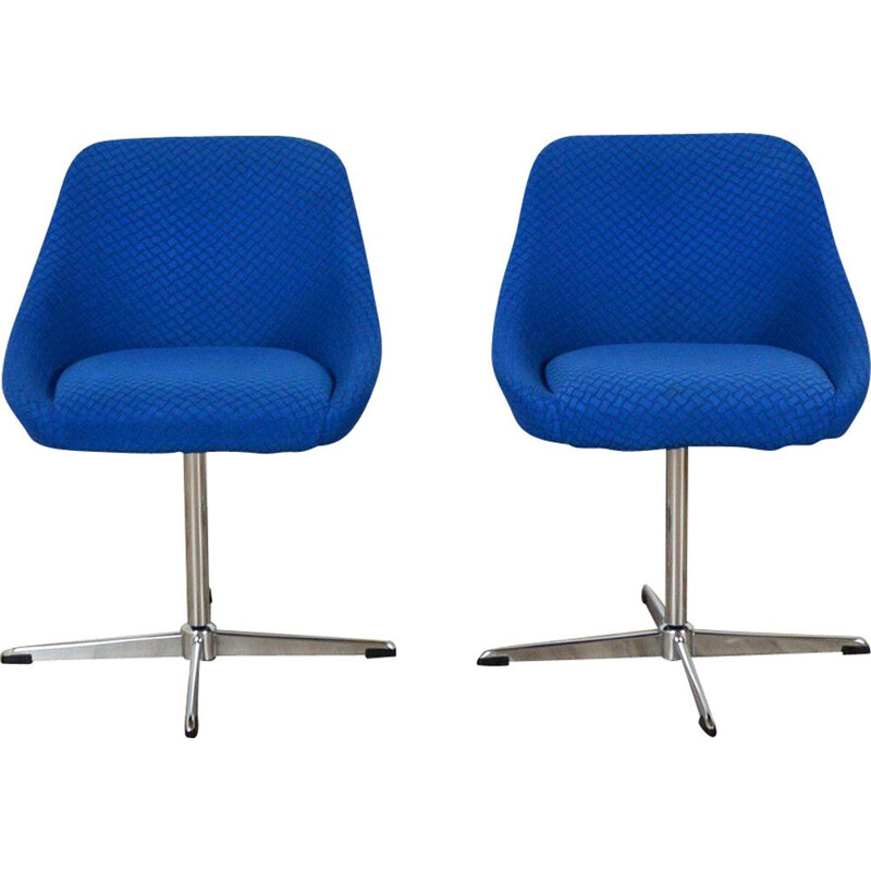 Pair of vintage armchairs blue shell Belgium 1970s