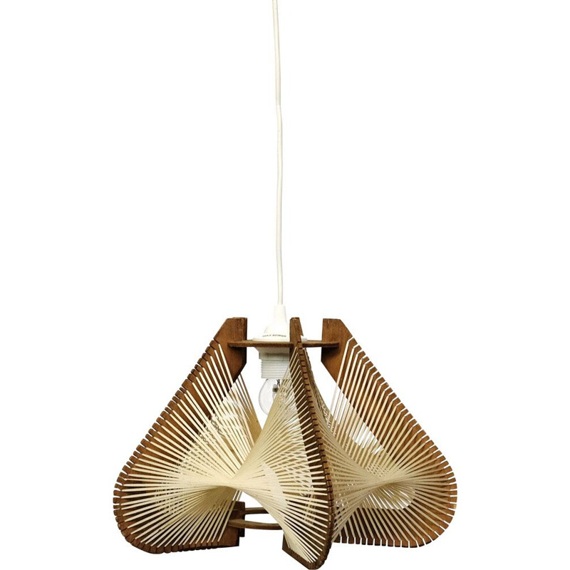 Vintage hanging lamp wire and wood from the 60s