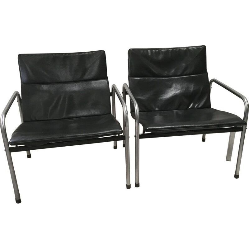 Set of 2 vintage Industrial chrome and skai chairs by Just meijer for Kembo