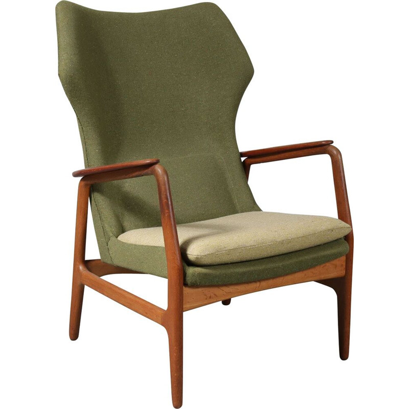 Vintage lounge chair for Bovenkamp in teak and green fabric 1950s