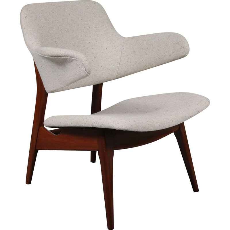 Vintage dutch lounge chair for WéBé in white fabric and teak 1950s