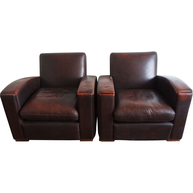 Pair of vintage french armchairs in brown leather 1980