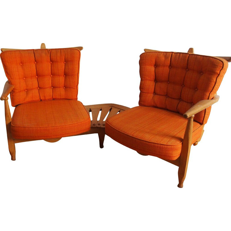 Vintage bench seat by Guillerme and Chambron in orange fabric and oak 1960