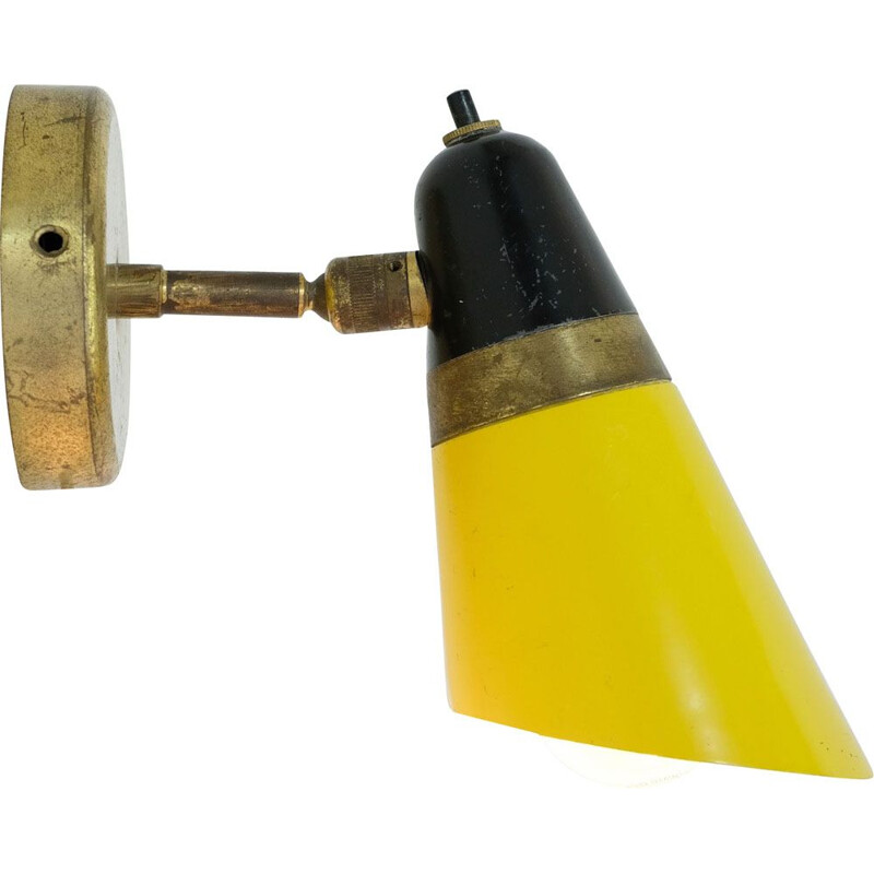 Yellow and black two-tone italian vintage sconce 1950